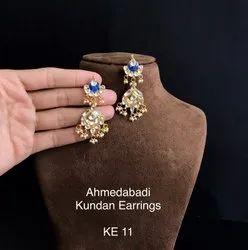 Copper Post And Back Pachi Work Kundan Earrings