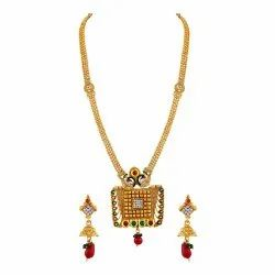 Artificial Asmitta Peacock Inspired Gold Toned Kundan Necklace Set For Women