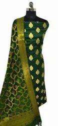 Party Wear Green Banarasi Unstitched Suit, Handwash
