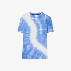 Half Sleeve Blue Men Round Neck Printed T Shirt, Size: Medium