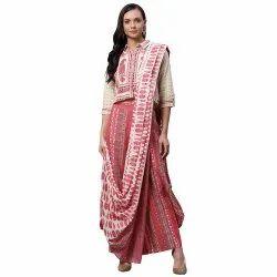 Divena Cotton Drape Style Kurti Plazzo Set With Attached Dupatta, Handwash