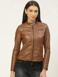 Full Sleeve Brown Ladies Zipper Tan Leather Jacket