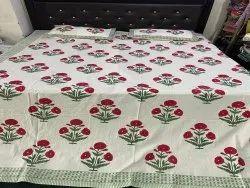 Indian Handmade Block print Bedsheet with two pillow