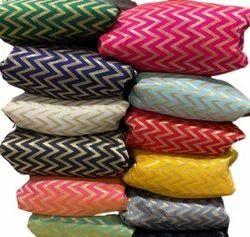 Printed Banarasi Silk Fabric, 150 GSM, Green and Golden