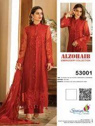 Alzohaib Hevy Embroidery Butterfly Net Pakitani Salwar Kameez Ladies Dresses