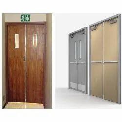 Polished Metal Frame Wooden Fire Resistant Doors