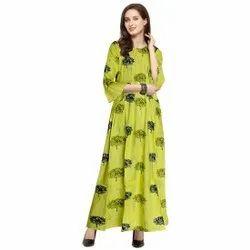 Casual Wear Anarkali Rayon Printed Kurti, Size: Free