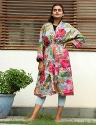 Fruit Print Cotton Short Kimono Robe