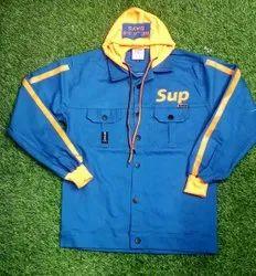 Men Blue Cotton Hooded Jacket