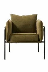 Jassi Brothers Black + Brown Designer Modern Iron Sofa Chair, For Home, Back Style: Cushion