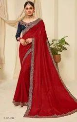 Red Color Vichitra Silk Saree