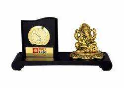 Analog Brown 76 Ganesh Table Clock