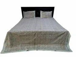 Beige HandBlock Print Bedsheet With Two Pillow