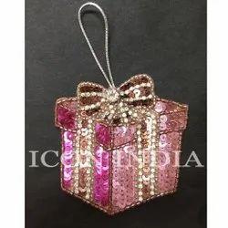 Pink Handmade Christmas Gift Box Hanging