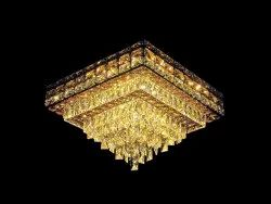 LED Square Pyramid Crystal Chandelier
