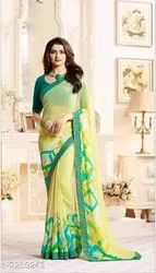 Casual Wear Floral Print Chiffon Saree With Blouse Piece