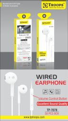TP Troops Wired Earphones Stylish Design 7078 (Box-50)  Earphone