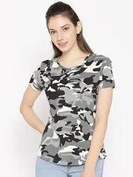 Harbornbay Women Grey & Black Camouflage Print Round Neck T-shirt