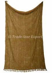 Authentic Hand loom Printed Cotton Throw Blanket Handmade Hand block Print Sofa Throw