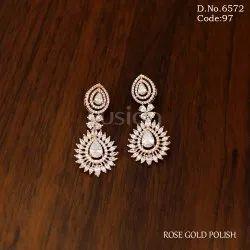 Fusion Arts American Diamond Rose Gold Polish Earring