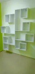 Laminated Plywood White Wooden Bookshelf, Size: Upto 5 X 6 Feet