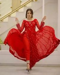 Red Fabric Rayon With Full Embroidery Full Zari And Mirror Work Suit