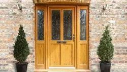 Hinged Decorative Wooden Glass Door, For Home