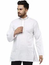 100% Cotton Casual Short Kurta For Holi, Mandarin Collar