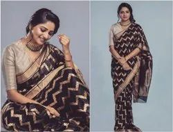BLACK Party Wear SILK SAREE, 6 m (with blouse piece)