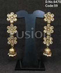 Fusion Arts Kundan Hanging Earrings