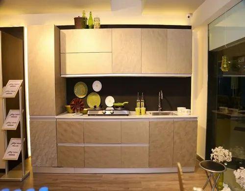 Brown Rectangular Wooden Modular Kitchen Cabinets