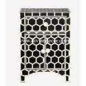 Royal Grids Monochrome Bone Inlay Bedside Table