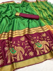 embodery work Party Wear Cotton Silk Embroidery Sarees, With Blouse, 6.3 m