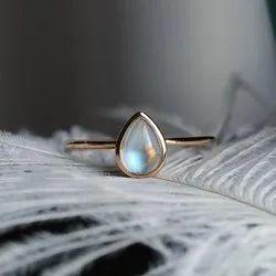 Natural Rainbow Moonstone Pear Cabochon Semi Precious Gemstone Rings