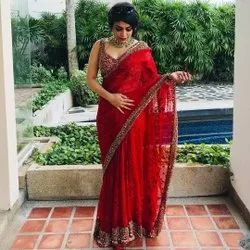 PRESENT GEOGGAT SAREE WITH SEQUENCE WORK