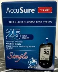 Plastic Accusure Blood Glucose Test Strips 25s, For Hospital,Clinic
