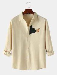 Black Cat Chest Print Plain Lapel Casual Shirts