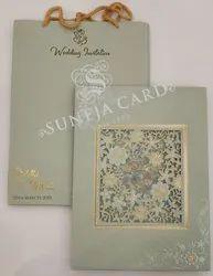 Carry Bag Green Laser Cut Flower Soft Feel Foil Printed Wedding Card Invitation Card