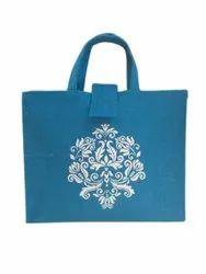 Loop Handle Blue,White Printed thamboolam Jute Bag, Size: 10 X 12 X 3 Inch