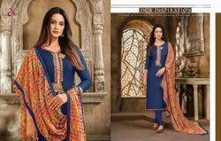 Casual Wear Blue Punjabi Suits