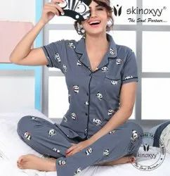 Female Cotton Night Suit With Collar Shirt