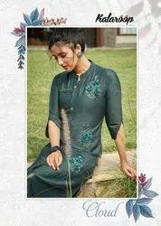 Kalaroop Cloud Lining Silk With Fancy HandWork Kurti Catalog