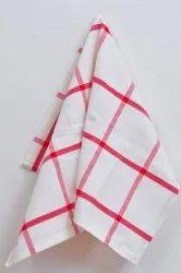Check White Printed Cotton Kitchen Towel
