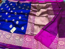 Printed Gota Work Pure Banarasi Silk Saree, 6 m (with blouse piece)
