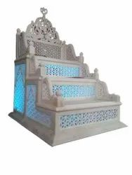 White Traditional Marble Masjid Mimbar, For Home, Size: 48 Inch * 30 Inch