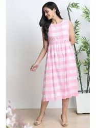Janasya Women's Pink Cotton Western Dress(JNE3580)