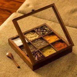9 Compartment Wooden Spice Box