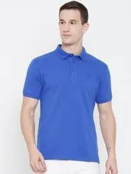 HARBORNBAY Men Blue Solid Polo Collar T-shirt