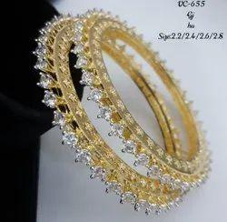 American Diamond Wedding CZ Bangles, Round, 1 Pair