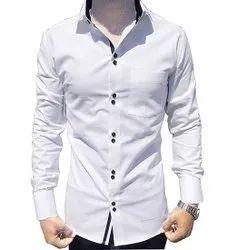 Full Sleeves Cotton Men White Plain Shirt, Handwash